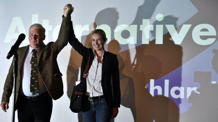 Opositores.Alexander Gauland y Alice Weidel en los festejos del bunker de la AfD.