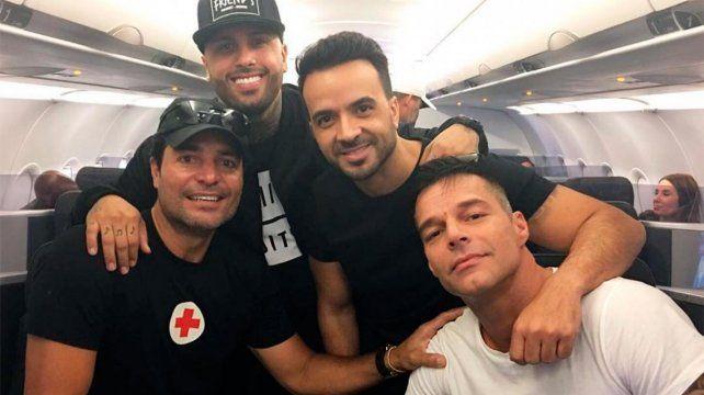 Ricky Martin, Chayanne y Luis Fonsi llegan juntos a Puerto Rico con agua y alimentos