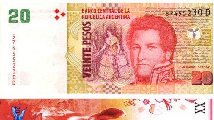 Antes y después. Así será el nuevo billete de 20 pesos con la imagen de un guanaco.