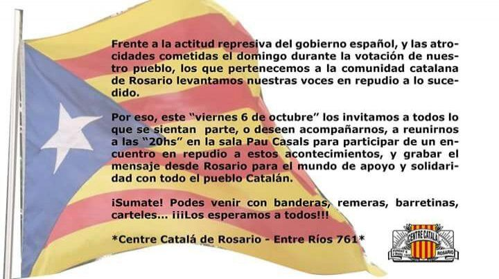 El Centro Catalán de Rosario convoca un encuentro para dar su mensaje al mundo