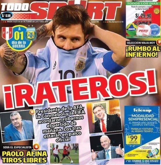 La prensa peruana denuncia que el partido entre Argentina y Perú podría estar arreglado