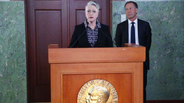 Berit Reiss Andersen del Comité Nobel de Noruega durante el anuncio que se hizo hoy en Oslo.