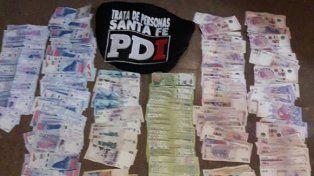 El dinero que fue secuestrado anoche en Zavalla.