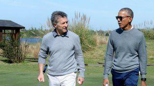 Equipo ganador. Macri y Obama jugaron juntos y ganaron.