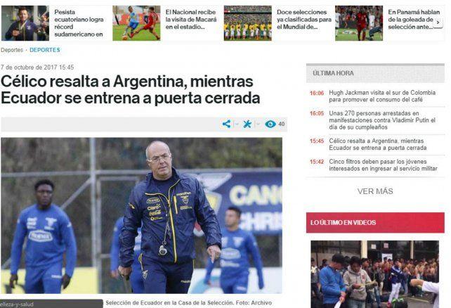 Portada del diario digital El Comercio
