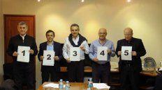El sorteo. Boasso, Giuliano, Rossi, Cantad y Contigiani, los participantes del debate de este domingo.