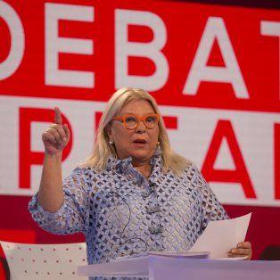 Elisa Carrió durante el debate de hoy de cara a las elecciones generales del domingo 22.