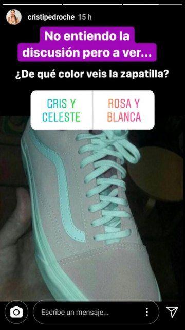 Se volvió viral el interrogante sobre si el color de las zapatillas es rosa o gris