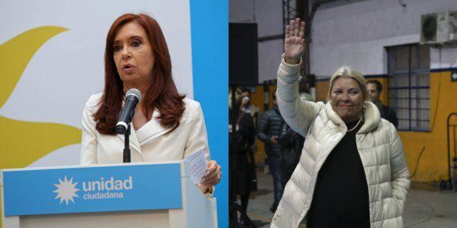 La expresidenta Cristina Fernández y la candidata a diputada nacional Elisa Carrió.