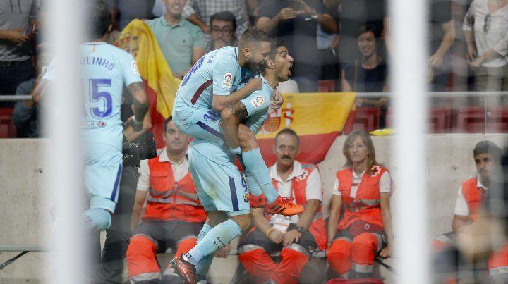 Grito. Suárez anotó el 1 a 1 y lo festeja.