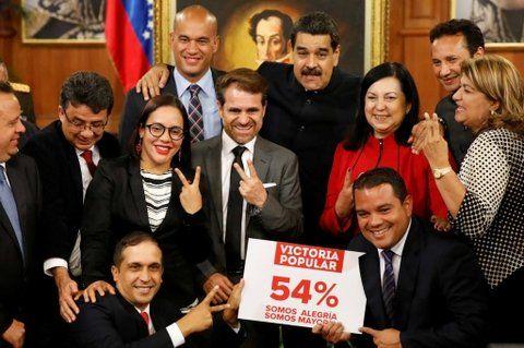 Festejo. El presidente Maduro