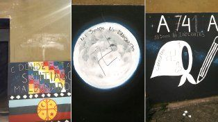 Pintan murales de alumnos del Politécnico con leyendas que reivindican a la dictadura militar.