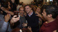Roy López Molina celebró con los militantes de Cambiemos su triunfo en Rosario.