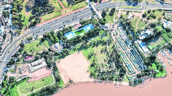 vista aérea. El sector que se planea conectar va desde el Acuario hasta la zona ribereña frente al parque Alem.