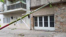 Tres de Febrero al 3100. Una columna de la EPE se tumbó por el fuerte viento de anoche.