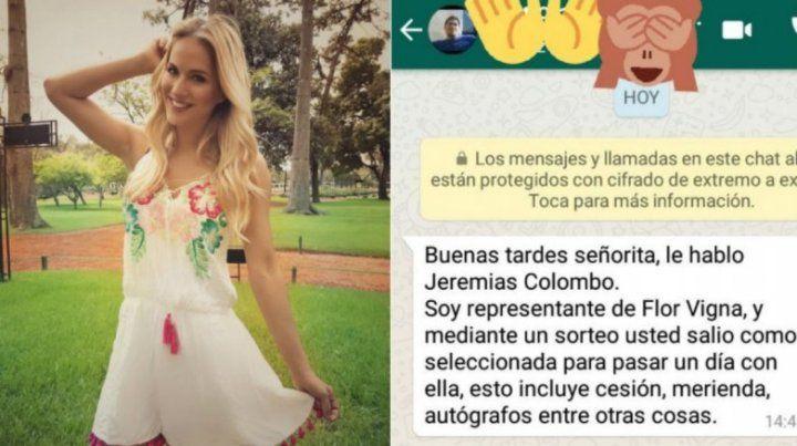 Flor Vigna denunció a un hombre que se hacía pasar por su manager y pidió tener cuidado