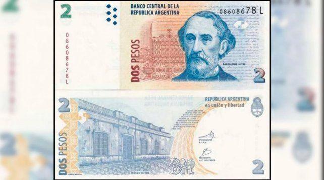 Los billetes de 2 pesos dejarán de tener validez desde el 1º de mayo de 2018