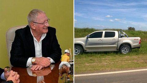 ejecutivo. La imagen de Benvenuto y de su camioneta Hillux en el lugar en que fue encontrada.