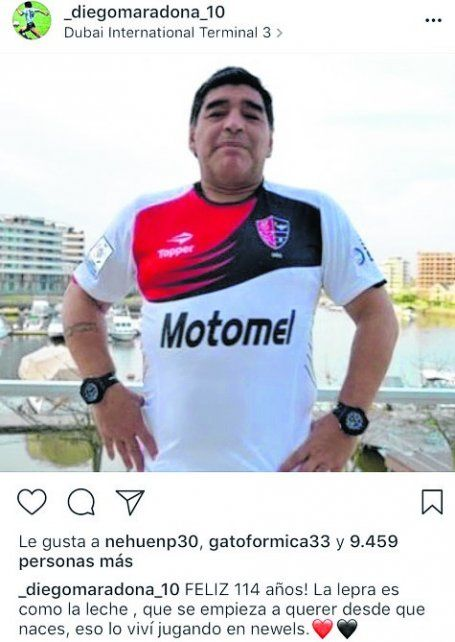 Diego Maradona mandó un saludo por el cumple de Newells