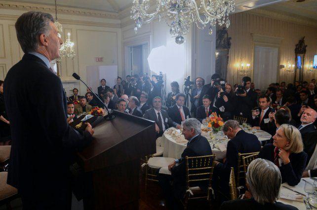 En la Gran Manzana. El presidente compartió un almuerzo con altos ejecutivos de empresas estadounidenses.