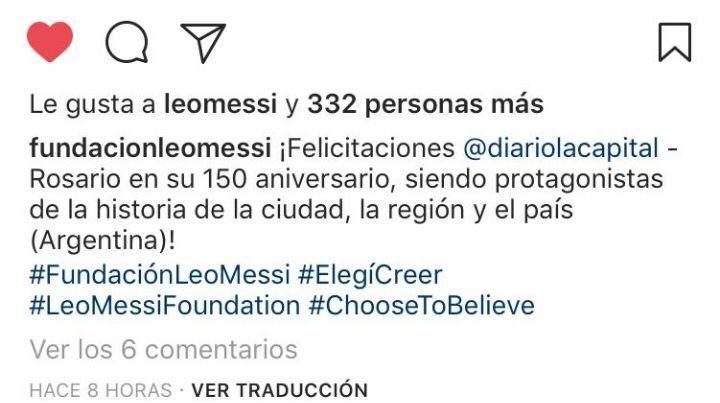 Messi saludó a La Capital por su aniversario