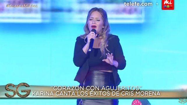 Karina cantó Corazón con agujeritos y un tema inédito para Cris