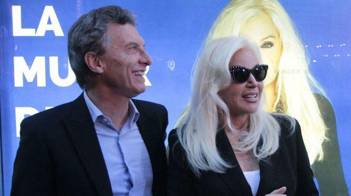 El presidente Mauricio Macri y la conductora de TV Susana Giménez