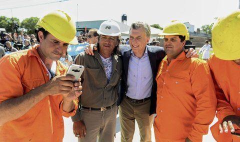 entre ríos. El presidente ayer en la localidad de San Benito.