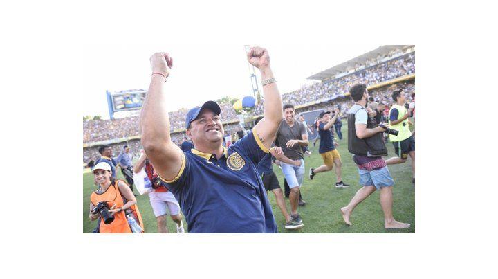 Feliz. Fernández explota de felicidad luego de su cuarto triunfo al hilo al frente del equipo auriazul.