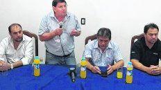 Paro. Pablo Reguera anunció la medida junto a otros miembros de la conducción de la CGT-San Lorenzo.