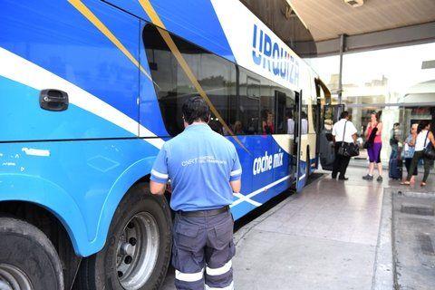 en acción. Un inspector de la CNRT controlaba ayer el estado general de un ómnibus que se aprestaba a partir desde la Terminal local.