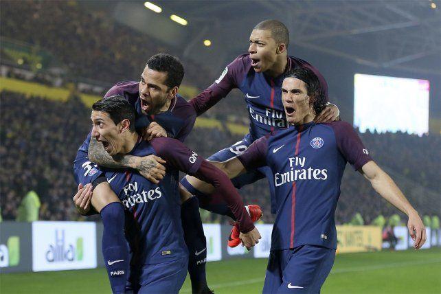 Desahogo. Di María convirtió el gol de la victoria del PSG francés frente a Nantes.