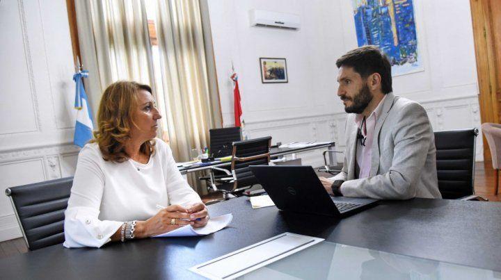 Mónica Fein se reunió con Maximiliano Pullaro. (Foto: Dirección de Comunicación Social / Marcelo Beltrame)