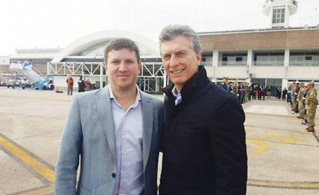 El diputado provincial Federico Angelini y el presidente Mauricio Macri.