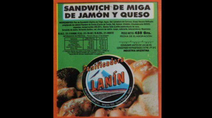 Esta es la etiqueta del sándwich que prohibió la Assal en todo el país.