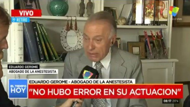 No se encontró error de la anestesista, dijo su abogado
