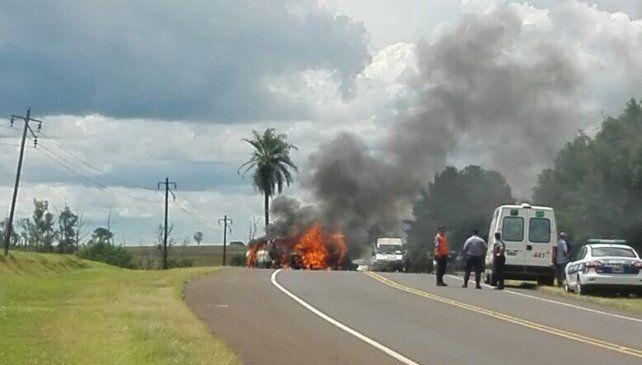 Diez personas murieron calcinadas tras un choque en la ruta 105