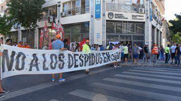 Los empleados se manifestaron hoy en la sede de San Lorenzo y Ovidio Lagos.