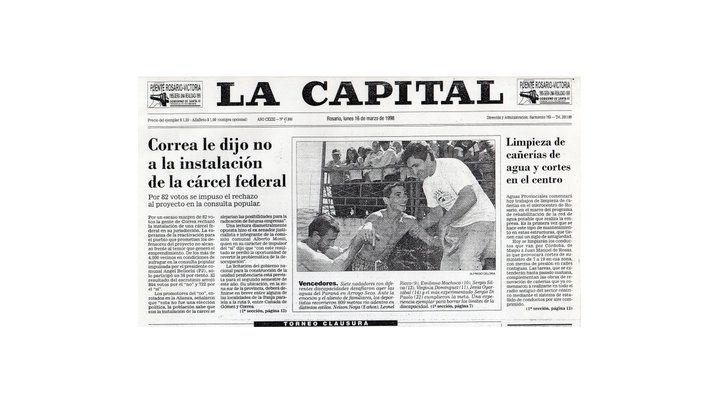 En tapa. El lunes 16 de marzo de 1998 la capital destacó la primera hazaña.