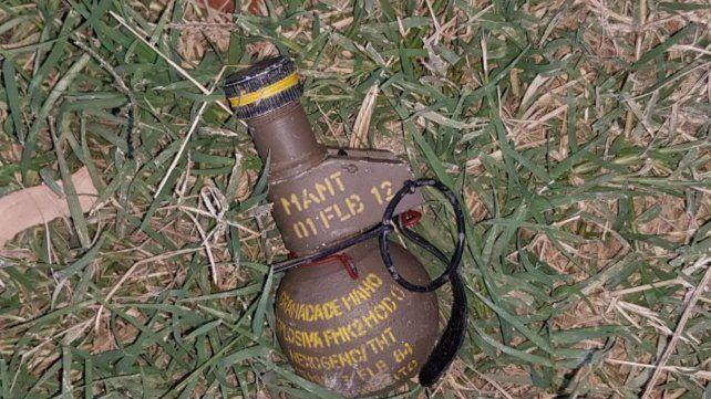 La granada hallada ayer en la zona sur.