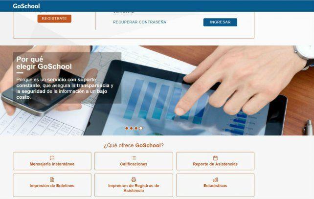 Portal de la empresa de servicios mendocina que se ofrece en las escuelas del país