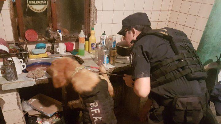 Buscando. Los federales usaron perros entrenados para hallar drogas.