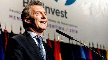 Macri, hoy,al inaugurar la asamblea del BID en Mendoza.