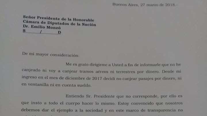 La carta que le envió Contigiani al presidente de la Cámara Baja.
