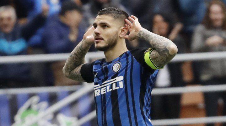 Festejo de gol. Icardi convirtió un doblete en la contundente victoria de Inter.
