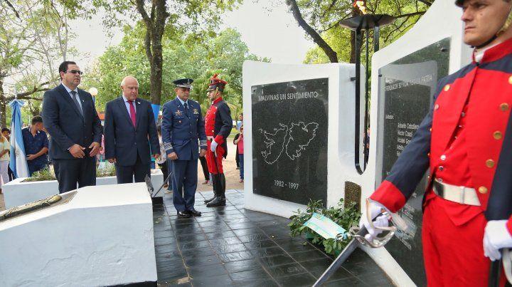 El gobernador Miguel Lifschitz del acto en conmemoración del Día del Veterano y los Caídos en la Guerra de Malvinas que se realizó en Reconquista