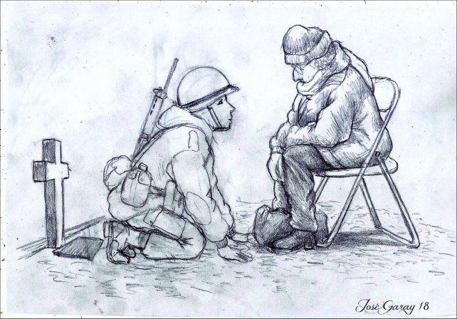 Un dibujo sobre una madre y su hijo caído en Malvinas emocionó a todos en las redes