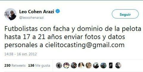 Tuit de Leonardo Cohen Arazi
