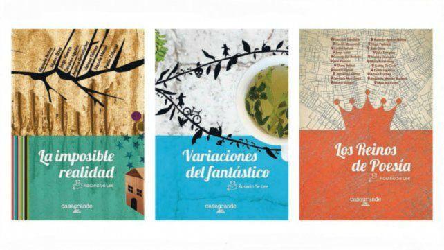 Las tapas de los libros de autores locales. Son anotologías destinadas a estudiantes del secundario.