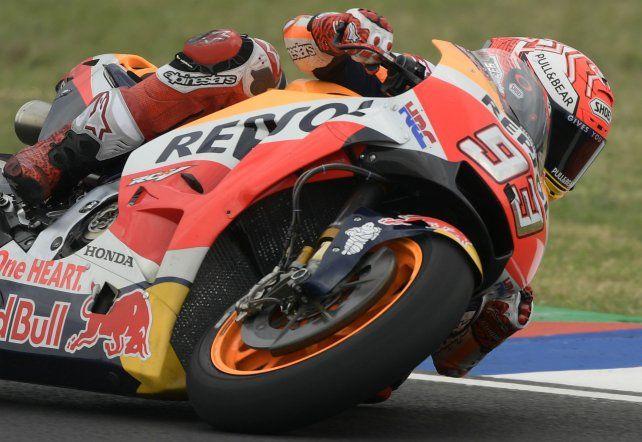 Andar de campeón. El español Marc Márquez marcó el ritmo en el segundo entrenamiento con la moto Honda que resultó inalcanzable.